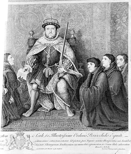 Henry VIII presenting document of union, 1540, after Holbein. King Henry VIII presenting document of union to the associations of barbers and surgeons, 1540. First copy, right section only. Tudor. Guild of Surgeons. Barbers' Co Act of Union. Contributors: B Baron. Work ID: k4tdvqf3.