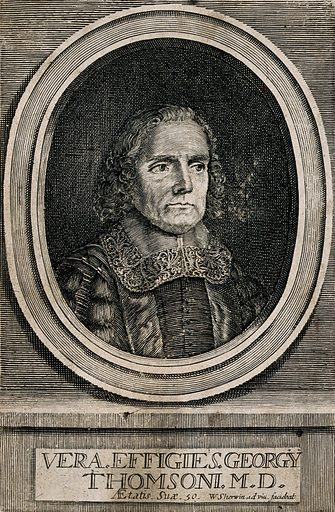 George Thomson. Line engraving by W Sherwin, 1670, after himself. George Thomson (active 1648–1679). Contributors: William Sherwin (active 1670–1710). Work ID: rabdtgur.
