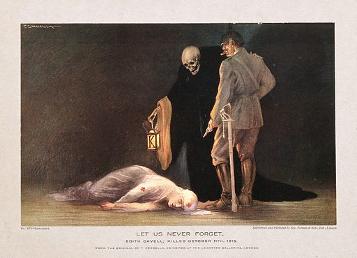 Edith Cavell wearing Red Cross uniform lying dead on the floor, a gloating jackbooted Prussian officer stands over her …