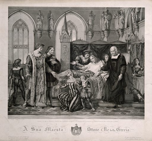 King Charles VIII of France visiting the deathbed of Gian Galeazzo Sforza at the Palazzo Ducale, Pavia, 1494. Engraving by G Beretta after P Palagi. This print, by an artist who was also a historian, represents an incident in 1494, when Lodovico Sforza invited the King of France to visit him. The young man dying in bed is the rightful Duke of Milan, deposed by Lodovico in 1480 and imprisoned ever since. Perhaps the dedication of the print was intended as a warning to the new King of the Hellenes, who was deposed in 1862. Prayer. Death. Poisoning. Deathbeds. Pavia (Italy). Charles VIII, King of France (1470–1498). Gian Galeazzo Sforza (1469–1494). Ludovico Sforza, il moro (1451–1508). Giacomo Mellerio, 1777–1847 Art collections. Contributors: Pelagio Palagi (1775–1860); Otho I, King of Greece (1815–1867); Giuseppe Beretta (1804–1855). Work ID: wu98ppzw.