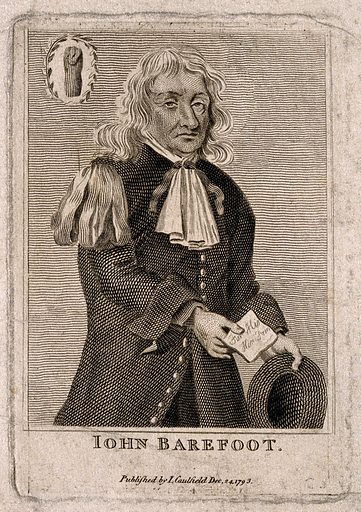 """John Barefoot. Line engraving, 1793. Described as """"Letter-Doctor to the University of Oxon"""" in the British Museum catalogue of engraved British portraits. Created December 24th 1793. John Barefoot (active 1680). Work ID: qed5jb2h."""