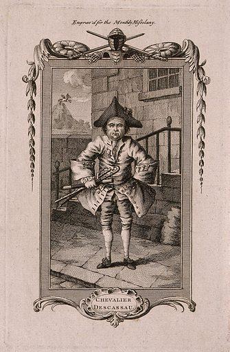 Le Chevalier Michel Descazeaux du Halley, an eccentric. Etching. Eccentrics and eccentricities. Du Halley, Michel Descazeaux (1710–1775). Work ID: fx8n5bxn.