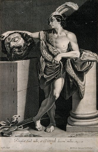 David with the head of Goliath. Line engraving by G Rousselet after G Reni. The story of David and Goliath is told in the Old Testament of the Bible: I Samuel XVII and I Kings XVII. Giants. Heroes. Death. King of Israel. David. Goliath (Biblical giant). Contributors: Guido Reni (1575–1642); Gilles Rousselet (1610–1686). Work ID: sshcxa4s.