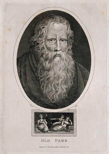 Thomas Parr, said to have lived 152 years, with the three fates. Engraving by T Dale, 1821, after Sir PP Rubens. On the sitter see Dictionary of National Biography Vignette of the three fates below the portrait. Created 1821. Thomas Parr (1483?-1635). Contributors: Peter Paul Rubens (1577–1640); Thomas Dale (active 1819–1828). Work ID: w64jsevm.