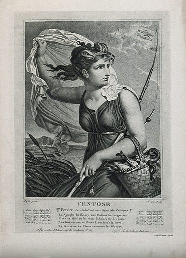 A fisherwoman blown by the wind; representing Pisces in the astrological year. Lithograph after S Tresca after L Lafitte. Two fishes representing Pisces can be seen through the clouds. Created between 1800 and 1899. Pisces (Astrology). Women. Weather. Winds. Astrology. Fishes. Fishers. Contributors: Louis Lafitte (1770–1828); Salvadore Tresca (1750?-1815). Work ID: hv2hdetp.