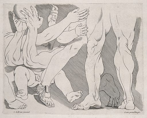 Legs, feet and lower parts of the body. Engraving after C Le Brun. Emotions. Physiognomy. Leg. Foot. Drawing books. Artists' preparatory studies. Contributors: Le Brun, Charles (1619–1690). Work ID: v29hbq5k.