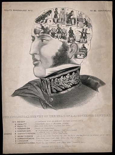 The thoughts and desires of a governor general, satirically analysed in pseudo-phrenological style. Lithograph, 18 –. Work ID: tnu9xd3v.