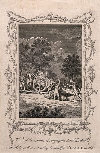 Burying the dead during the plague of 1665. Etching by C Grignion after S Wale. The former grounds of the Holywell (Haliwell) Abbey in Shoreditch, London, which were bounded on the north by Old Street and on the east by the site of the later Shoreditch High Street, and which occupied the sites of the later Great Eastern Street, Rivington Street and Curtain Road. The abbey had been demolished in 1539 Within a rococo border. Plague. Great Plague, London, England (1664–1666). Death. Burial. Shoreditch (London, England). Contributors: Samuel Wale (-1786); Charles Grignion (1721–1810). Work ID: jae45f37.