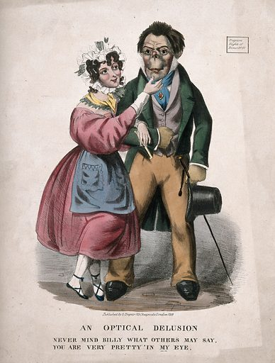 An attractive woman courting a strange looking man; suggesting that beauty is in the eye of the beholder. Coloured lithograph, 1833. Created 1833. Courtship. Ugliness. Costume – Great Britain (- 19th century). Love. Work ID: yc9r3abz.