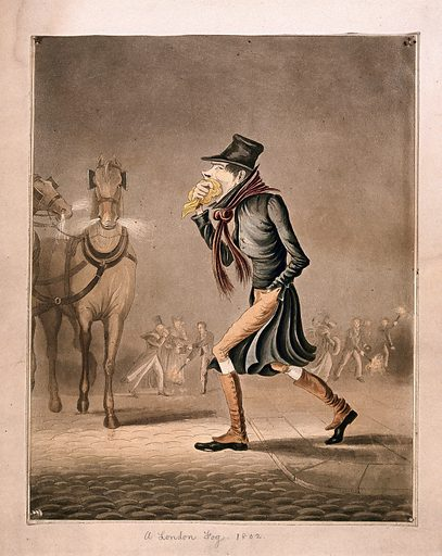 A man covering his mouth with a handkerchief, walking through a smoggy London street. Coloured aquatint. In the background are two snorting horses and linkboys running about bearing burning torches. Fog. Horses. Costume – History (- 19th century). Work ID: mtjtuxwm.