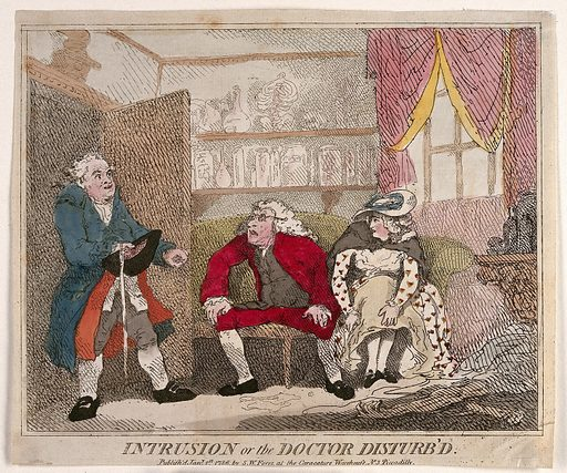 A man interrupting a doctor's misconduct with a young female patient. Coloured etching by T Rowlandson?, 1786. Created 1 January 1786. Physicians – Malpractice. Patients. House furnishings – Great Britain (- 18th century). Costume – Great Britain (- 18th century). Women. Eyeglasses. Work ID: nfwppvf2.