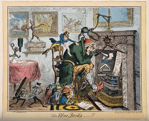 An ill man next to his empty hearth tormented by the miseries of life; presented surrounded by assorted chastising demons. Coloured etching by G Cruikshank, 1835. The room is littered with bills for medicine, etc.; three paintings depicting scenes of strife hang on the wall. Created 1 August 1835. Sadness. Devil. Painting. Costume – History (- 19th century). House furnishings – Great Britain (- 19th century). Contributors: George Cruikshank (1792–1878). Work ID: cgm9kxan.