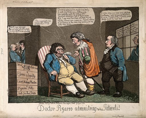 """Sheridan presented as Francisco Pizarro presented as a physician; representing his loyalty to the British Crown against the Franch Revolution and Bonaparte. Coloured aquatint, 1799. Sheridan is administering a medicine (""""Essence of loyalty""""), apparently in the form of smelling salts in a vial, to his patient Charles James Fox: the Duke of Norfolk, King George III and others observe in expectation of a cure. Sheridan is dressed as Francisco Pizarro, referring to his play Pizarro (1799). The play is open to a number of different and inconsistent interpretations. First, the Peruvians are described in the same words as those in which the Indians had been described in Sheridan's speeches against Warren Hastings, leaving Pizarro and the Spanish conquerors to be compared to the British East India Company. Alternatively, the Peruvians are compared to the English, and the Spanish invaders are compared to Bonaparte and the potential invasion of French Revolutionary practices: Sheridan is seen as supporting the British, as loyal to King George III, and as able (through his patent medicine) to convert Charles James Fox to the same loyalty. Finally, the Peruvians are compared to the Irish, and the Spanish conquerors to the English and Scots in Ireland: at the time Sheridan was supporting the United Irishmen in a law suit, but did not support their alliance with France The present print adopts the second of the three interpretations above: Sheridan is curing Fox of """"Jacobin qualms"""" by administering """"Essence of loyalty"""" to him and to three other supporters of radicals: the Earl of Derby (a sporting associate of Fox), Lord Erskine (who as a barrister had defended radicals in court), and Sir Francis Burdett (opponent of the suspension of Habeas Corpus, supporter of prison reform etc.) The persons shown are listed below in this catalogue record. Created 8 July 1799. Jacobins. Politicians. Allegiance. Physician and patient. Drama. Costume – History (- 18th century). Great Britain. Fra"""