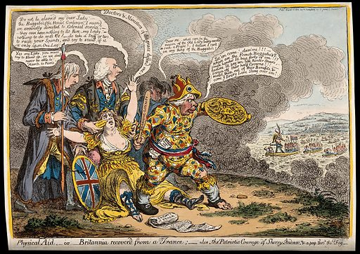 """A fearful woman (Britannia) is encouraged by three British politicians to resist the invading fleet of France. Coloured etching by J Gillray after J Sneyd, 1803. The fainting Britannia is fortified by """"doctors and ministers"""" represented by Charles Jenkinson (Baron Hawkesbury, subsequently Earl of Liverpool) and Henry Addington (subsequently Viscount Sidmouth): Jenkinson wears a fur-lined robe, while Addington, as a doctor in the robes of the Royal College of Physicians, holds smelling salts (""""Gunpowder"""") to her nose. Sheridan, as a quack doctor's assistant (""""Sherry Andrew"""", play on """"Merry Andrew""""), holds a club and a shield in the form of the head of the Medusa against Napoleon and a French invasion force crossing the English Channel. Fox is shown behind them. The characters speak as if playing roles in a Shakespearian tragedy. Created 14 March 1803. Syncope (Pathology). Physicians. Medusa (Greek mythology). Costume – History (- 19th century). Great Britain – Foreign relations – France. Richard Brinsley Sheridan (1751–1816). Charles James Fox (1749–1806). Charles Jenkinson (1727–1808). Henry Addington, Viscount Sidmouth (1757–1844). Napoleon I, Emperor of the French (1769–1821). William Shakespeare, 1564–1616. Hamlet. Contributors: John. Sneyd; James Gillray (1756–1815). Work ID: hmma23pq."""
