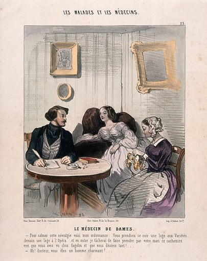 A physician prescribing entertainment as a cure for a young woman's nervous illness. Coloured lithograph by Ch.-E Jacque. Gagelin was a business which sold textiles and ready to wear garments. Neurasthenia. Physician and patient. Contributors: Charles Emile Jacque (1813–1894). Work ID: khekvx2t.