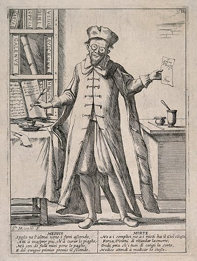 A learned physician with a library of Latin books writes a prescription but cannot save his patients from death. Etching by GM Mitelli, c 1700. The doctor has dipped his quill in an inkpot and has written out a prescription. On the left-hand table there is a lancet resting on a cloth. The poem warns that medicines are a useless defence against death. Physicians – Italy (- 17th century). Scholars. Physicians – Clothing. Medicine – Formulae, receipts, prescriptions. Medicine – Early works to (1800). Books. Medical instruments and apparatus. Surgery. Physicians – Malpractice. Drugs – Prescribing. Contributors: Giuseppe Maria Mitelli (1634–1718). Work ID: uw2655xa.