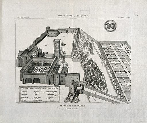 Bird's-eye view of the Abbaye de Montmajour with a key to identify the buildings and grounds. Engraving, 1869 after the original, 1684. Created 1869. Abbeys – France. Abbaye de Montmajour. Work ID: tdp22yqs.