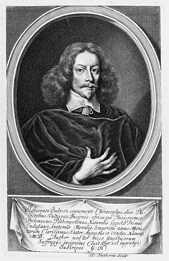"""Portrait of John Bulwer, state III. Fully Lettered, as prefixed to the sitter's """"Anthropometamorphosis"""" (1653). From the British Museum Print room impression. Contributors: W Faithorne I Work ID: yxcertyy."""
