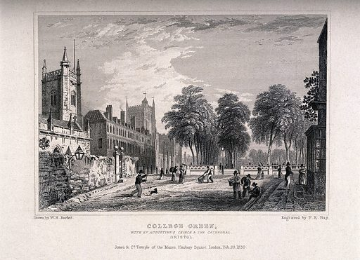 Avenue leading to the College Green with St Augustine's Church and Cathedral, Bristol. Line engraving by FR Hay, 1830, after WH Bartlett. Created February 20 1830. Universities and colleges – England (- 19th century). Cathedrals – England (- 19th century). Church buildings – England (- 19th century). Bristol (England). Contributors: W H Bartlett (1809–1854); Frederick Rudolph Hay (1784–). Work ID: x8jxdye6.
