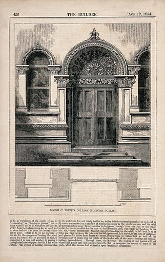 The doorway of Trinity College Museums with printed text and floor plans, Dublin, Ireland. Wood engraving by WE Hodgkin, 1854, after B Sly. Created 12 August 1854. Doorways – Ireland (- 19th century). Museums – Ireland (- 19th century). Universities and colleges. Dublin (Ireland). Contributors: Benjamin Sly (active 1841–1883); W E Hodgkin (active 1853–1879). Work ID: fc2k7hue.