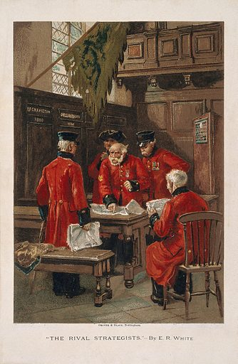 A group of Chelsea Pensioners disputing in the Hall at the Royal Hospital