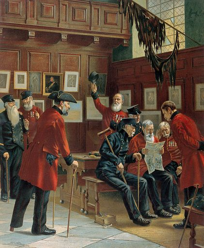 Several Chelsea Pensioners gathered around, one of whom is reading from a copy of Shurey's illustrated paper