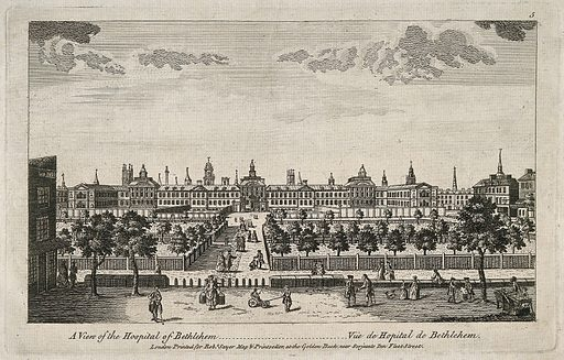The Hospital of Bethlem [Bedlam] at Moorfields, London: seen from the north, with people in the foreground. Engraving, c 1764. This is the second building of Bethlem Hospital [Bedlam], built in 1675–1676 in Moorfields, London. In 1814–1815 the hospital removed to St George's Fields, Southwark, and the Moorfields building was subsequently demolished. Created c1764. Hospitals. Dogs. Mental illness. Milk. Shoe shiners. Church buildings. Spires. Trees. Coffins. Psychiatric hospitals. Charity. Children. Bethlem Royal Hospital (London, England). Contributors: Robert Hooke (1635–1703). Work ID: dyunzypa.