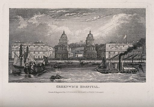 Royal Naval Hospital, Greenwich, with ships and rowing boats in the foreground. Engraving. Hospitals. Naval and marine. Hospitals. Ships. Paddle steamers. Thames River (England). Royal Hospital for Seamen at Greenwich. Work ID: n52svsgq.
