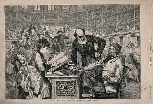 The British Museum: the interior of the reading room, in use