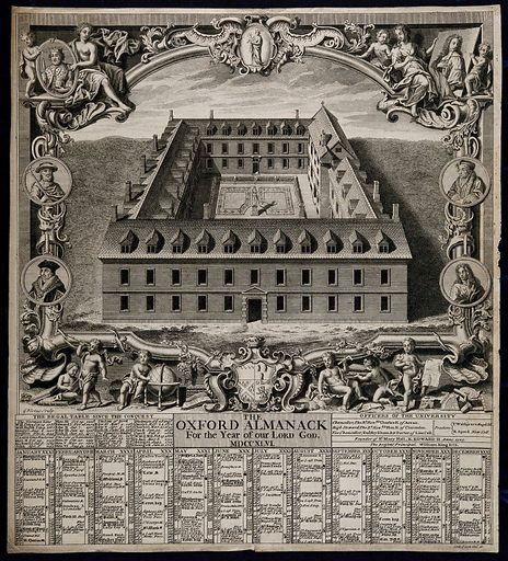 A quadrangle designed for St Mary's Hall, Oxford. Engraving by G Vertue, 1746. A design for St Mary's Hall, a subordinate establishment to Oriel College, incorporated into the college in 1902. The building was not executed. Top left, King Edward II, the founder; top right, Dr Dyke, the founder of scholarships at St Mary's Hall. Below them, on the left are Cardinal William Allen and Sir Thomas More, and on the right Erasmus and George Sandys. At the bottom, putti with books, telescope, globe, mathematical instruments and diagrams, representing the sciences, with the arms of the Earl of Arran (3rd Duke of Ormonde from November 1745), chancellor of the university and patron of St Mary's Hall (Petter, loc. cit.). Created 1746. Science. Mathematics. Learning and scholarship. Edward II, King of England (1284–1327). William Allen (1532–1594). Thomas More, Saint (1478–1535). Desiderius Erasmus (-1536). George Sandys (1578–1644). Charles Butler, Duke of Ormonde (1671–1758). St Mary's Hall (Oxford, England). Contributors: George Vertue (1684–1756). Work ID: g9rz2qyz.