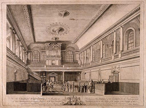 Foundling Hospital, Holborn, London: interior of the chapel. Etching by John Sanders, 1774, after himself. Created 7 January 1774. Chapels. Medicine – Religious aspects. Education. Foundlings. Discipline of children. Abandoned children. Hospitals. Foundlings – Hospitals. Foundling Hospital (London, England). Contributors: John Sanders (1750–1825); Sir Charles Whitworth (approximately 1721–1778); Theodore Jacobsen (-1772). Work ID: z9zbxc58.