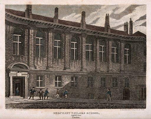Merchant Tailors' School, Suffolk Lane, London: facade. Etching by Sheppard, 1815, after himself. Created 1 October 1815. Tailors. Occupational training. Schools. Universities and colleges. Merchant Tailors' School (London, England). Contributors: Sheppard. Work ID: k27f5dhw.