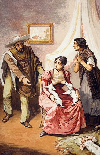 A woman breast feeding two puppies whilst two Mexican peasants implore her to feed their baby, which is lying on the floor on a bed of straw. Chromolithograph after A Utrillo. BREAST-FEEDING. Contributors: A Utrillo. Work ID: v7q6yq4e.