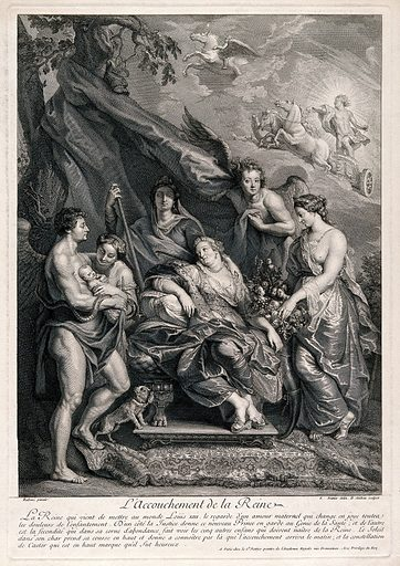 The birth of King Louis XIII. Engraving by B Audran the younger after J Nattier after PP Rubens. The queen Marie de' Medici is seated on a grand throne, the baby is in the arms of Health while Justice looks over him. Fecundity brings a cornucopia of fruit with the heads of the other children the queen will bear. The sun rides his chariot across the sky to indicate that Louis XIII was born n the morning and the calm figure of France surveys the whole scene. Childbirth. Maternal. Love. Angels. Fertility. Health. Justice. Horses. Trees. Dogs. Fruit. France – History – Henry IV (1589–1610). Marie de Médicis, Queen, consort of Henry IV, King of France (1573–1642). Louis XIII, King of France (1601–1643). Contributors: Peter Paul Rubens (1577–1640); Jean-Marc Nattier (1685–1766); Benoit Audran (1698–1772). Work ID: g3x5brea.