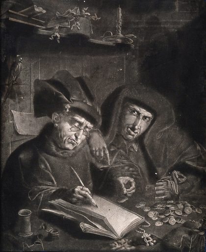 Two money-lenders counting their money, the one writing the ledger wears spectacles. Mezzotint after Q Matsys. Eyeglasses. Moneylenders. Jewelry. Candlesticks. Antwerp (Belgium). Contributors: Quentin Metsys (1465 or 1466–1530). Work ID: jyjfm7eb.