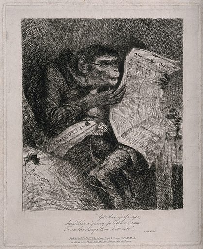 A monkey wearing spectacles reads the Times newspaper, with the Examiner under his arm, sitting beside a globe