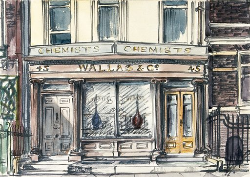 """Wallas & Co pharmacy, 45 New Cavendish Street, London. Watercolour. """"New Cavendish Street. … No 45 retains an early shopfront, of c1820, with pairs of Ionic columns, indicative of the commercial nature of this end of the street in late-Georgian times. The core of the house itself, now of six storeys, may well be earlier, though the whole premises were substantially rebuilt in the 1890s. It was here that H T Hodgson's 'British & Foreign' subscription library was based during the early half of the nineteenth century (as 9 Great Marylebone Street), with a reading room described as offering 'superior advantages' to London's crowded clubs and public institutions. In addition to use of the reading room, subscribers (at five guineas a year, or three guineas a half-year) could also receive new works by post, 'whether resident in Town or Country'. It was at Hodgson's that Robert and Elizabeth Barrett Browning met in September 1846 a week after their secret marriage in Marylebone parish church before heading to Nine Elms for the first leg of their trip to a new life in Italy. After 1900 the shop was for more than fifty years the premises of the chemists and pharmaceutical manufacturers Wallas & Co, founded in Oxford Street in 1897"""" (Survey of London, loc. cit.). Work ID: fuawc4hc."""