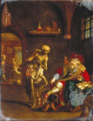 Death and the miser. Coloured mezzotint after Frans Francken. Contributors: Frans Francken (1581–1642). Work ID: bwxtqdpz.