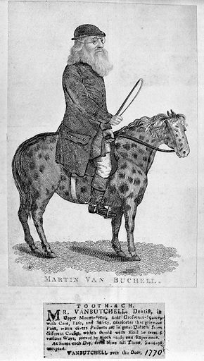 Trade card of Martin Van Bucheli, 1770. (Presumably Bucheli hmself on a spotted horse). Work ID: n76sgq5v.