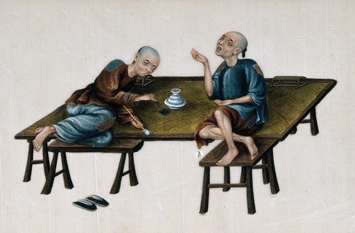 Two poor Chinese opium smokers