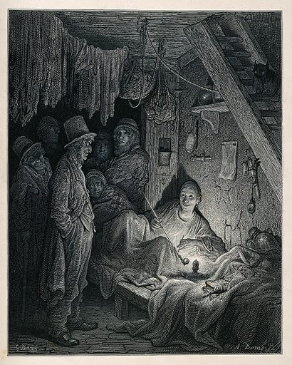 An opium den in London's East End with a reclining smoker being watched by a group of men