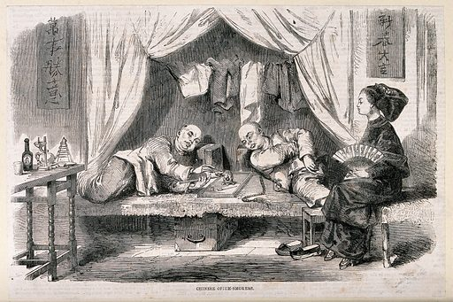 Two Chinese opium smokers reclining in a booth watched by a woman with bound feet