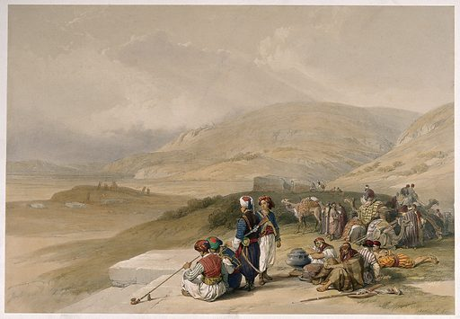 Men resting their camels and smoking by Jacob's Well at Shechem, Palestine. Coloured lithograph by L Haghe after D Roberts, 1839. Created 1842. Smoking. Tobacco use. Tobacco pipes. Ruined buildings. Camels. Rifles. Holy wells. Contributors: David Roberts (1796–1864); Louis Haghe (1806–1885). Work ID: juqkrdum.