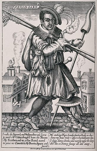 John Cottington, a chimney-sweep, in elaborate costume walking the street with smoking pipe and horn in hand, with …