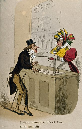 A lank old man at a bar asks a plump barmaid for a glass of gin