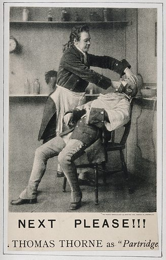 """Thomas Thorne in character as a barber shaving a man. Process print, ca 1886. An episode in the play Sophia, by Robert Williams Buchanan, a dramatisation of Tom Jones by Henry Fielding, as performed at the the Vaudeville Theatre, London in 1886. """"Mr Thomas Thorne as Partridge.—This is 'dear old Partridge', as Tom Jones affectionately calls him. He is honest as the day and as faithful as a watchdog. Indeed, he is a watchdog, ever on the alert to serve our hero for whom he has so strong an affection. Mr Thorne treats the character with an amount of rugged simplicity and humour that is highly amusing, much laughter being the outcome of that barber's shop cry—'Next please', which he cannot get rid of even when away from his razors and his brushes, and placed in the most critical and serious positions. The Vaudeville visitors sympathise with Partridge as well as laugh at him, for now and again, in wonderful contrast with his fun, comes a bit of feeling that in its natural expression touches the heart, and makes tears start for the eyes."""" (The era, 12 June, 1886). Created 1886. Barbers. Shaving. Robert Williams Buchanan, 1841–1901. Sophia. Thomas Thorne (1841–1918). Contributors: Sprague & Co (London, England). Work ID: nw2feshu."""