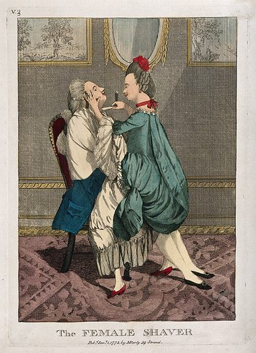 A female barber shaving a man while astride him. Coloured engraving. Created 1 January 1773. Work ID: nng6sdtj.