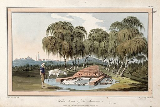 Warm source of the Scamander. Coloured etching by T Medland, 1804, after W Gell. Created 1 January 1804. Contributors: Sir William Gell (1774–1836); Thomas Medland (active 18th century-19th century). Work ID: b8a6tg4r.