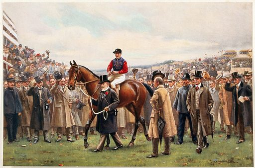 A jockey is lead through a cheering crowd by a man in a top hat holding the horse by its reins. Chromolithograph after J S Wells. Contributors: J Sanderson. Wells. Work ID: zp5wmeb8.