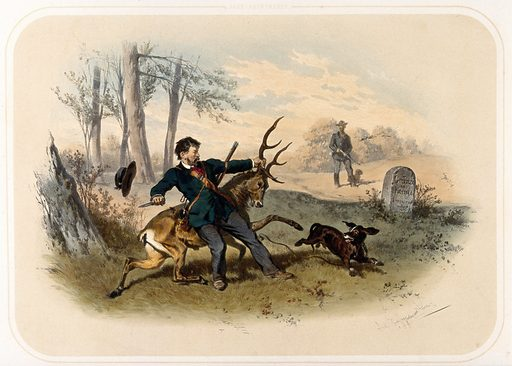A huntsman, intent on killing a stag with his knife, almost loses his grip on its antler, as he is startled by an …